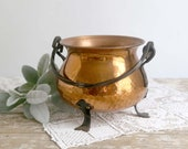 Vintage Hammered Copper Vessel, Copper Vase with Handle, Copper Planter, Copper Cauldron, Made in Germany