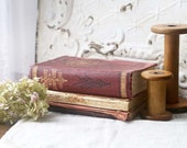 Tattered Burgundy Book Bundle, Antiquarian Books, Antique Books for Decor, Vintage Farmhouse Book Decor