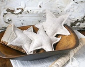 Fourth of July Stars, Vintage Grain Sack Stars, Farmhouse Stars, Star Ornaments, Set of 3 Plain Stars