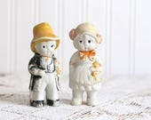 Vintage Bisque Wedding Dolls, Bisque Bride and Groom, Bisque Penny Dolls, 1920s Bisque Bride and Groom Dolls, Made in Japan