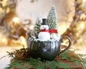 Snowman Christmas Decor, Vintage Style Christmas Decor, Farmhouse Christmas Decor
