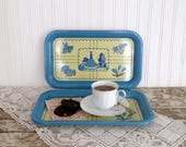 Vintage Metal Serving Trays, 3 Small Blue Serving Trays, French Country Trays, Cottage Chic Serving Trays, Metal Snack Trays