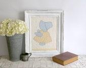 Sun Bonnet Sue Framed Quilt Piece, Vintage Sun Bonnet Sue Quilt, Country Farmhouse Decor, Blue Yellow White Quilt Decor, Nursery Decor