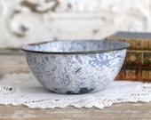 Vintage Blue Swirl Bowl, Small Swirl Enamel Bowl, Primitive Blue Swirl Bowl, Vintage Farmhouse Decor