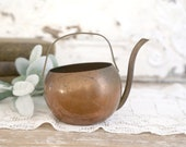 Vintage Copper Watering Can, Small Round Watering Can, Cottage Chic Home Decor