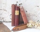 Burgundy Book Stack, Vintage Burgundy Book Bundle, Burgundy Books for Decor, Set of 3 Burgundy Books, Christmas Book Decor