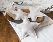 Fourth of July Stars, Vintage Grain Sack Stars, Set of 3 Plain Stars, Farmhouse Stars, Star Ornaments