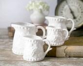Vintage White Ironstone Measuring Cups, Napco Measuring Pitchers, Cottage Chic Kitchen Decor, Farmhouse Kitchen, Set of 4