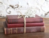 Vintage Burgundy Books, Vintage Farmhouse Decor, Burgundy Book Stack, Set of Three Burgundy Books, Books for Decor