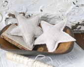 Vintage Grain Sack Stars, 4th of July Stars, Star Ornaments, Farmhouse Stars, Set of 2 Stars