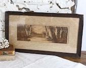 Vintage Landscape Print, Farmhouse Wall Decor, Landscape Print, Rural Woodland Scene, Antique Forest Print