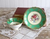 Vintage Paragon Green floral HM the Queen HM Queen Mary Cup and Saucer, Vintage Green Cup and Saucer, Gold Gilt Hand Painted Fine Bone China