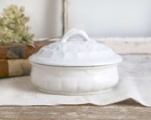 Vintage Ironstone Covered Dish, Ironstone Sugar Bowl, Farmhouse Kitchen, W Taylor Hanley Ironstone Dish