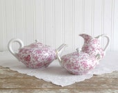 Vintage Pink Chintz Tea Set, Pink Chintz Creamer, Sugar and Teapot, Pink Flowered Tea Set, Cottage Tea Set, Cottage Kitchen Tea Set