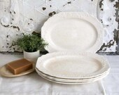 Antique Ironstone Plates, W.S. George Fleurette Hotel Ware, Farmhouse Decor, Oval White Ironstone Plates