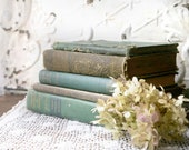 Green Book Bundle, Vintage Books for Decor, Green Book Stack