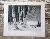 Snow Valley by William MacLean, Etching with Drypoint and Aquatint, 1945