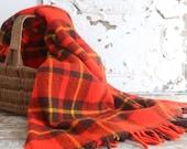 Vintage Red Plaid Blanket, Stadium Blanket, Faribo Blanket