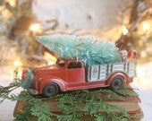 Vintage Red Truck and Christmas Tree, Farmhouse Christmas Decor, Red Truck, Bottle Brush Trees, Christmas Truck and Tree