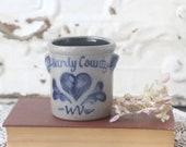 Vintage Rowe Pottery Crock, Small Salt Glazed Crock, Hardy Country WV Crock, Country Home Decor