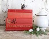 Red Books for Decor, Vintage Book Bundle, Vintage Red Book Set