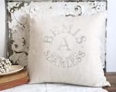 Vintage Grain Sack Pillow, Bemis Grainsack, Farmhouse Pillow, Upcycled Grain Sack Pillow
