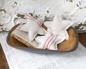 4th of July Stars, Vintage Grain Sack Stars, Farmhouse Stars, Star Ornaments, Set of 3 Stars