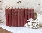 Vintage Small Burgundy Books for Decor, Funk and Wagnalls Encyclopedia, Burgundy Books for Decor, Burgundy Book Bundle
