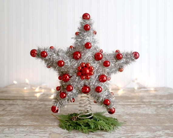 Vintage Christmas Star Tree Topper, Tinsel Star, Retro Silver Star Tree Topper, Red Ornaments, Large Star Tree Topper, Silver Garland Star