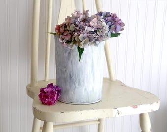 Vintage Sap Bucket, Small White Sap Bucket, Galvanized Bucket, Farmhouse Decor, Rustic Garden Decor, Rustic Home Decor