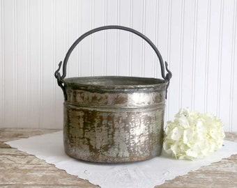 Vintage Hammered Tin Cauldron, Large Tin Pot, Tin and Copper Plated Bucket, Farmhouse Storage Bucket