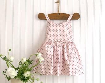 Vintage Girls Sundress, Red and White Sundress, Little Girls Sundress, Toddler Red and White Sundress