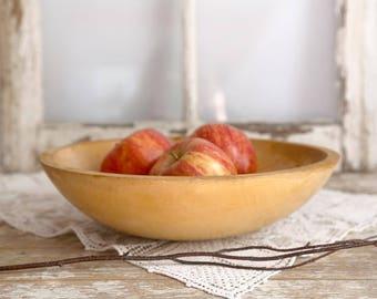 Vintage Wooden Dough Bowl, Rustic Wooden Bowl, Primitive Bowl, Country Farmhouse Kitchen, Wood Kitchen Bowl, Fixer Upper Decor
