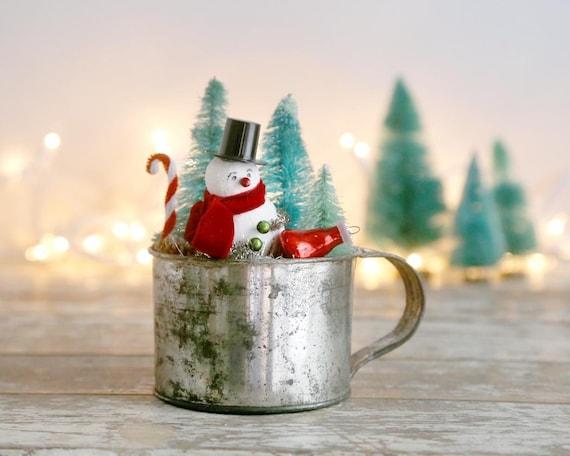 Snowman Christmas Decor Vintage Style Christmas Decor Etsy