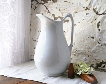 Vintage Ironstone Pitcher, Alfred Meakin Pitcher, Large Ironstone Pitcher