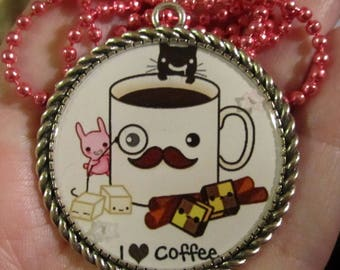 I Love Coffee Necklace-Coffee Jewelry-Handmade Resin Pendant Jewelry