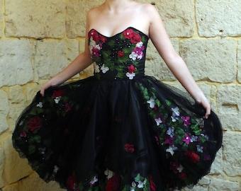 Black tulle floral dress