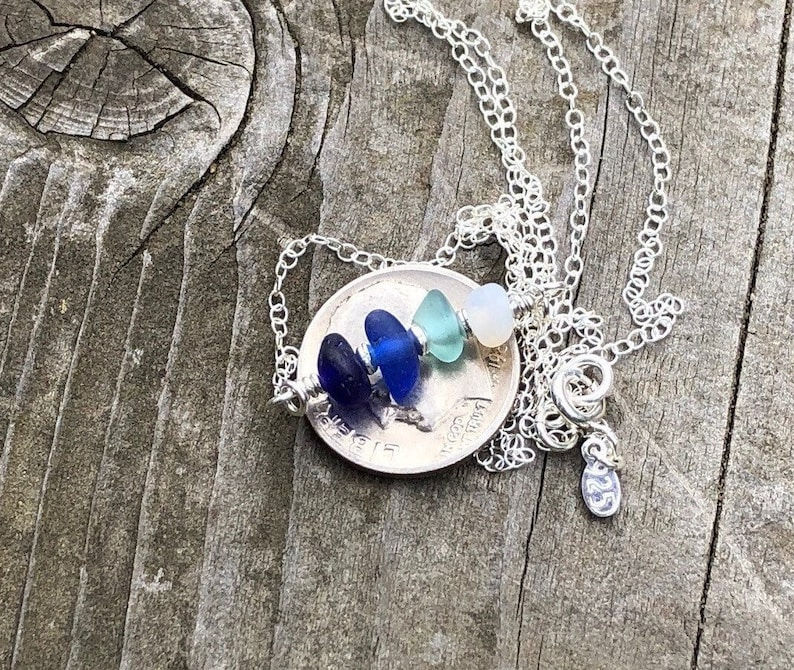 Beach Glass Beaded Necklace For Women Minimalist Sea Glass Jewelry Genuine Sea glass Necklace with Sterling Silver