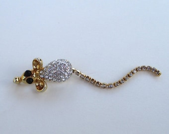 Vintage Gold and Rhinestone Pave'  Mouse Pin Brooch With Dangly Rhinestone Tail
