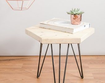 NEW Geometric coffee / side table made from sustainable reclaimed wood with hairpin legs