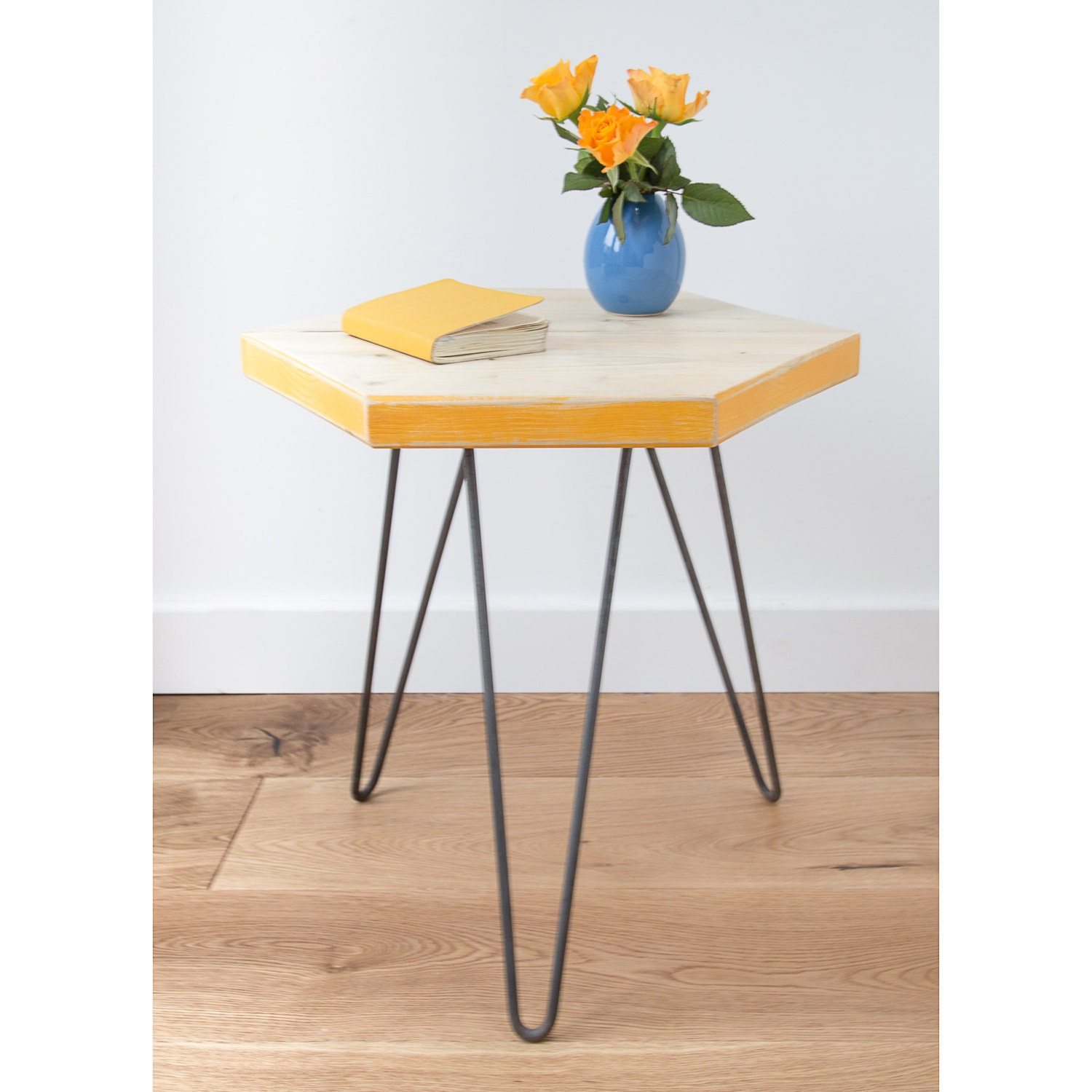 New Wooden Hexagon Coffee Table With Colour Pop Pantone Etsy