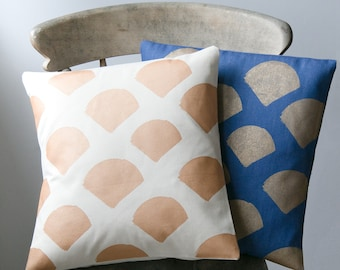 SALE Geometric gold scallop print cushion in natural or indigo to add style to your sofa