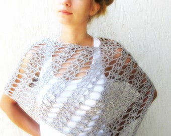 Grey Lace Crochet Wrap / Grey Lace Summer Scarf / Summer Shawl