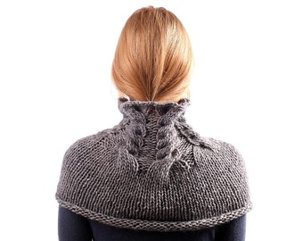 Grey Knit Scarf / Chunky Cowl / Alpaca Over the Shoulder Neckwarmer / Charcoal Infinity Scarf / Tube Wrap/ Under 50/ Gift europeanstreettean