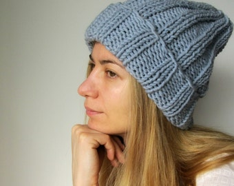 Grey Chunky Wool Beanie / Gray Winter Hat/ Hand Knitted Big Hat / Europeanstreetteam