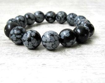 Obsidian beads bracelet / Black and White Minimalistic bracelet / Genuine Obsidian Semi precious stones / gift under 30 / LikeFreja