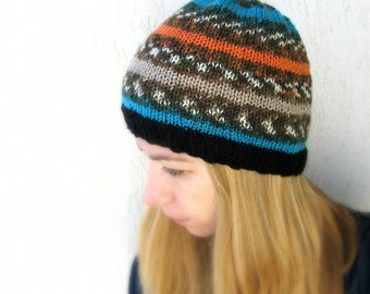 Colorful Winter Beanie / Orange Turquise wool Knit  Hat / Hand Knit Europeanstreetteam