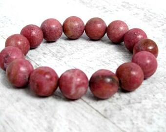 Rodalite beads bracelet / Chunky pink stone bracelet / Genuine Semi precious stones / gift under 30 / LikeFreja