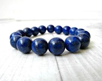 Laspis Lazuli beads bracelet / Chunky stone bracelet / Ultramarine Genuine Semi precious stones / gift under 30 / LikeFreja