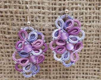 Tatted earrings Rozalinda, beaded colorfull earrings - your color choice